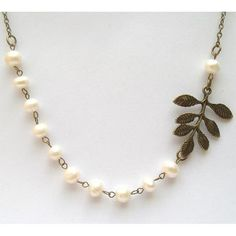 "Antiqued Brass Leaf White Pearl Necklace.  33mm antique brass leaf pendant, 7mm fresh water pearl, antiqued brass chain.  $12.99.  Length: please inform us for the length you want (the default length is 20"")"