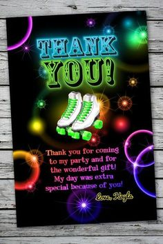 Roller Skating GLOW NEON Birthday Party Thank You Card Note Skates 13th Boy Girl