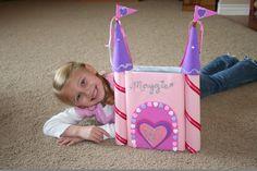 Princess Castle Valentine Card Box Idea. See more DIY Valentine card box ideas on www.prettymyparty.com.