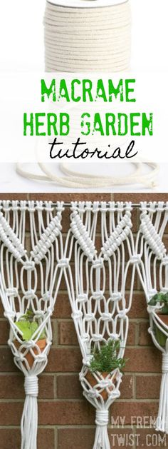 macrame hanging herb garden I've been wanting to make a large macrame wall hanging for my balcony for some time but just wasn't sure where to start. Finally, … More macrame hanging herb garden Hanging Herb Gardens, Hanging Herbs, Diy Home Crafts, Yarn Crafts, Crafts To Make, Easy Craft Projects, Craft Tutorials, Large Macrame Wall Hanging, Do It Yourself Projects