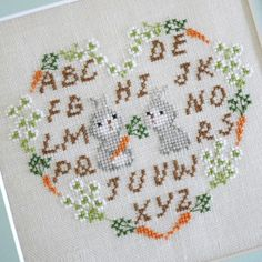 Bunny heart cross stitch alphabet にんじんリースのうさぎさん | Filosofi