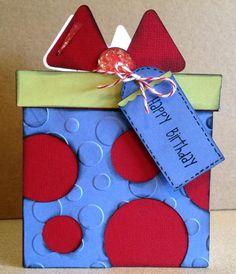 Booscraps - Scrapbooking, card making and a little bit of my life.: Gift Shaped Birthday Card - Sweet Treats Cricut Cartridge
