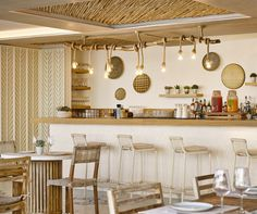 Nobu Hotel Ibiza Bay is a place where you could just hang out all day long. With the summer season ending on the island of Ibiza, Nobu Hotel Ibiza Bay. Hotel Ibiza, Nobu, Kitchen Inspirations, Interior, Hotel Bar, Hotel, Bars For Home, Restaurant Interior, Hotels Design