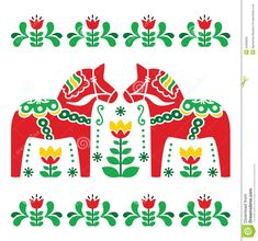 Swedish Dala Horse Designs | Scandinavian background - Dala red horses with green floral pattern ...