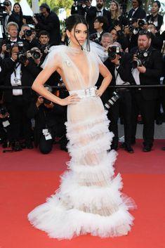 d576483b4da Kendall Jenner White Sheer Gown Cannes 2018 Kylie Jenner White Dress