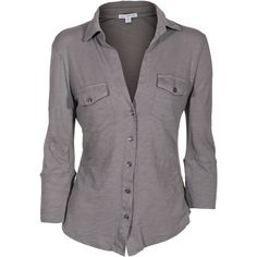 JAMES PERSE Sheer Slub Side Panel Silverfox Jersey shirt with pockets (320 CAD) ❤ liked on Polyvore featuring tops, blouses, shirts, long sleeves, grey shirt, sheer long sleeve shirt, 3/4 sleeve blouse, jersey shirt and long sleeve jersey