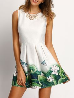 19$  Watch now - http://di4it.justgood.pw/go.php?t=1610 - White Floral Frint Pleated Skater Dress