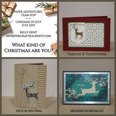Paper Adventures Team Hop Christmas in July Christmas Trends, Modern Christmas, Christmas In July, Christmas Fashion, Christmas Inspiration, Christmas Gifts, Holiday, Stamped Christmas Cards, Hand Stamped Cards