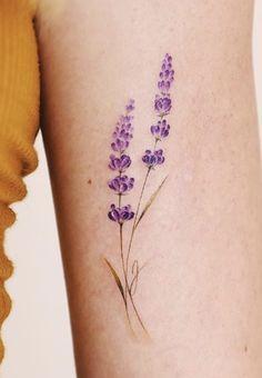 Watercolor Dragonfly Tattoo, Lotus Tattoo, Mini Tattoos, Cool Tattoos, Tatoos, Cousin Tattoos, Lavender Tattoo, Cute Tats, Wildflower Tattoo