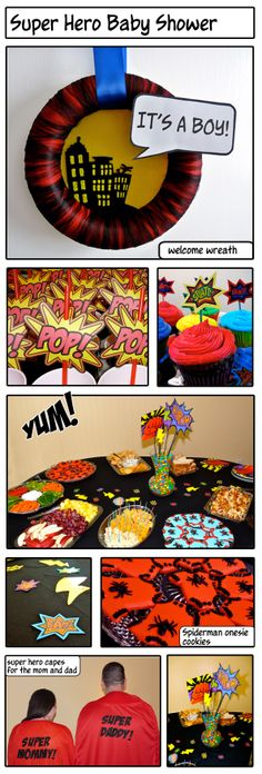 super hero baby shower---- if we ever have a boy. We will have to do superhero theme Superman Baby Shower, Marvel Baby Shower, Superhero Baby Shower, Boy Baby Shower Themes, Superhero Party, Baby Shower Parties, Baby Boy Shower, Baby Showers, Shower Bebe