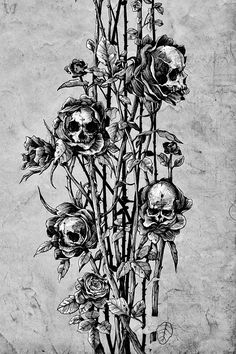 Pollution (Skull roses)by Noia Mareji© Behance/Tumblr/Facebook (Please leave credit & links …Ƹ̴Ӂ̴Ʒ)