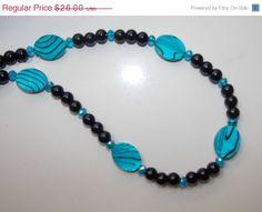 ON SALE Blue Zebra Shell Necklace by EriniJewel on Etsy, $20.80