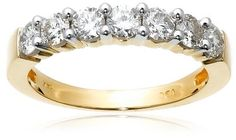 14k Yellow Gold 7-Stone Diamond Ring (1 cttw, H-I Color, I1-I2 Clarity), Size 6 Amazon.com Collection.