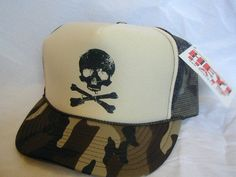 CAMO SKULL Trucker hat by HEY! hat - Skulls, Skater and Cool Trucker Hats & more