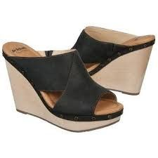 Dr. Scholl's Farida Black Leather Wedge Sandals