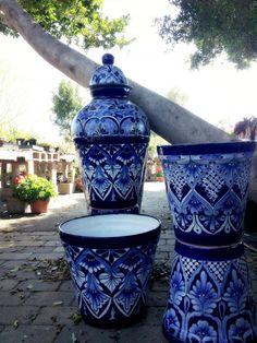 blue pots.