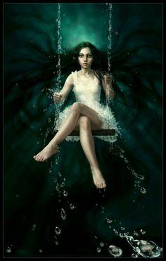 Swinging under water.  Art by: Diane Ozdamar