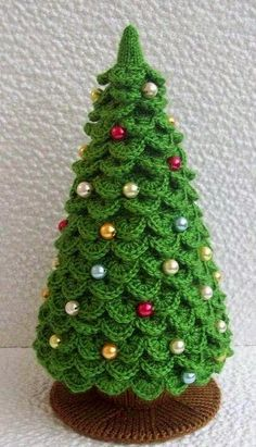 009 Knitting (branches are Crochet) Pattern – Christmas Tree New Year pattern – Amigurumi by Zabelina – christmas knitting ideas Crochet Christmas Trees, Christmas Tree Pattern, Christmas Crochet Patterns, Holiday Crochet, Diy Christmas Tree, Christmas Knitting, Christmas Decorations, Christmas Ornaments, Christmas Skirt