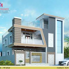 Exteriors and architectural asian style houses by m.a constructions asian House Outside Design, Home Stairs Design, Home Building Design, House Front Design, Small House Design, Modern House Design, Fence Design, Modern Houses, Two Story House Design