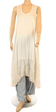Martine Samoun Soft White Fine Linen  Lace Layering Dress - Summer 2013