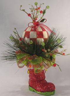 Red check Santa boot-- I wanna make one! Christmas Thoughts, All Things Christmas, Christmas Home, Christmas Holidays, Christmas Wreaths, Christmas Bulbs, Xmas, Christmas Arrangements, Christmas Centerpieces