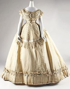 Evening dress, ca. 1867, French, silk via Metropolitan Museum of Art