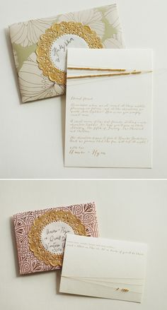 Gold Beaded invite with a love letter from the couple to the guests
