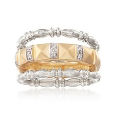 Set of Three .10 ct. t.w. Diamond Stackable Rings in 18kt Yellow Gold Over Sterling