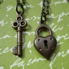 Key to My Heart Couples Necklace Set  by WinterberryJewelry, $42.00