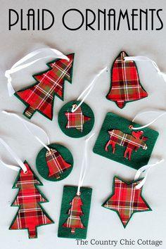 make your own plaid ornaments handmade christmas