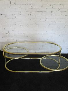 VTG MCM TUBULAR BRASS MILO BAUGHMAN STYLE PIVOT TIERED SWIVEL COFFEE TABLE Chicago Apartment, Milo Baughman, Table Furniture, Winchester, Coffee Tables, Interior Architecture, Buy Now, Objects, Brass