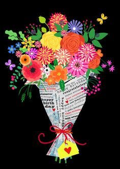 flowers in paper Art Print by Elisandra Sevenstar - X-Small Illustrations, Illustration Art, Arte Floral, Birthday Greetings, Pattern Wallpaper, Art Lessons, Bunt, Flower Art, Art Quotes