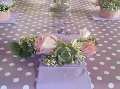 Succulents and roses half flower crown Wrist Corsage, Flower Crowns, Floral Design, Succulents, Roses, Table Decorations, Flowers, Pink, Handmade