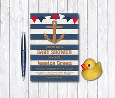 Nautical Baby Shower Invitation Printable, Anchor Birthday Invitation, Digital File - Blue Stripes, Summer Beach Invitation - pinned by pin4etsy.com