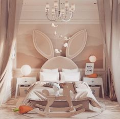 A bedroom design for a special somebunny 😉🐰Designed by Cool Kids Bedrooms, Kids Bedroom Designs, Kids Room Design, Kid Bedrooms, Baby Bedroom, Baby Room Decor, Girls Bedroom, Bedroom Decor, Bedroom Furniture