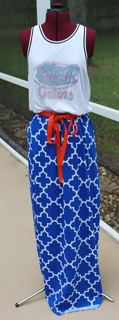 University of Florida Bling Gators Quatrofoil Game Day Racerback Tank Maxi Dress Skirt Upcycled T-Shirts Medium - Ready to ship! by gamedaychicflorida on Etsy