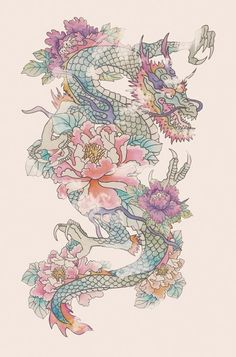 chinese dragon with flowers - Google Search