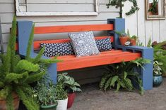 How to make a DIY garden bench out of cinder blocks and wood slats