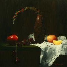 "24 x 24 Oil on Canvas ""Apple and Orange"" - Still Life - JL Morris"