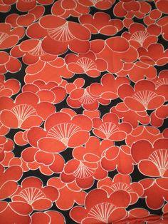 Vintage Japanese silk kimono fabric plum blossom burnt orange on black Oriental pattern – 2019 - Fabric Diy Japanese Textiles, Japanese Patterns, Japanese Fabric, Japanese Prints, Japanese Design, Japanese Art, Motifs Textiles, Textile Patterns, Textile Prints