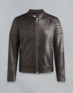 This men's leather biker jacket In black features long sleeves and a subtle stand collar. Shop the Northcott biker jacket from Belstaff UK. Cool Jackets For Men, Stylish Jackets, Revival Clothing, Men Closet, Plus Clothing, Men's Wardrobe, Wardrobe Clothing, Men Style Tips, Male Style
