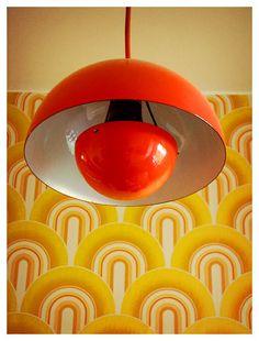 Verner Panton flowerpot lamp ETA: I love the iconic wallpaper, too