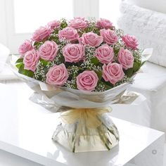 Heavenly Pink Rose Hand tied.  Sending a bouquet of beautiful roses says it all. And you can relax in the knowledge that your Interflora florist will select the finest, large-headed pink roses to create a hand-tied bouquet guaranteed to take their breath away.