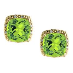 Cushion Cut Peridot August Gemstone Yellow Gold Diamond Earrings Available Exclusively at Gemologica.com
