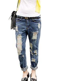 Plus Size Holes Loose Cross Pants Women's Fashion Denim Pants on buytrends.com