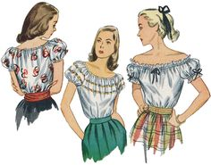 Vintage 1940s Peasant Blouse Sewing Pattern by by AtomicRedhead