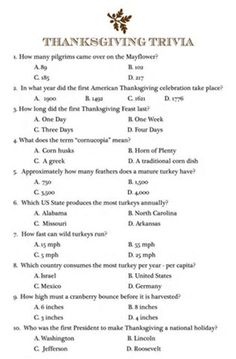 Image result for Printable Thanksgiving Trivia Quiz