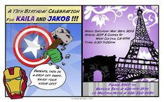 An Avengers/Parisian themed birthday party invitation designed by La Design Boutique