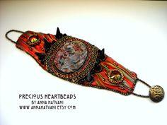SUMMER SALE 20% OFF Bead Embroidery Bracelet от PreciousHeartBeads