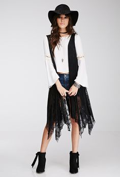 FOREVER 21 Lace-Paneled Maxi Vest http://www.shopstyle.com/action/loadRetailerProductPage?id=471768377&pid=uid3601-7931801-85 #fashion #style #beauty #hair #makeup #accessories #clothes #shoes #jewelry #jewellery #fashiontrends #love #like #winter #wint